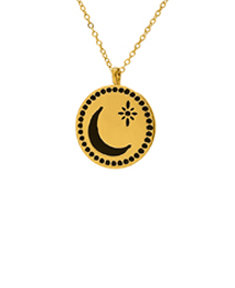 Crescent Moon and Star Disk Pendant