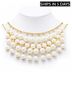 Dangling Faux Pearls Choker Style Necklace