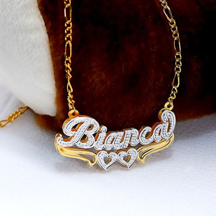 """Double Nameplate """"Bianca"""" Style Necklace"""