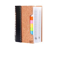 Eco Friendly Cork Notebook w/ Ruler, Flags & Sticky Notes