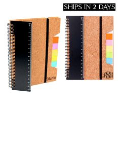 2 Eco Friendly Cork Notebook w/ Ruler Flags & Sticky Notes