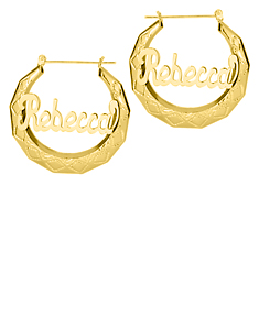 Embossed Name Hoop Earring