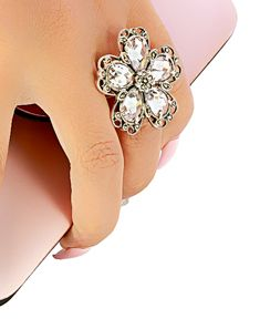Flower Ring with Color Stones