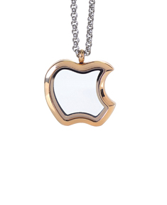 Gold Plated Apple Locket with 4 Floating Motifs
