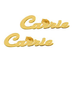 Gold Plated Carrie Stud Name Earrings