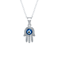 Sterling Silver Hamsa Pendant Necklace with Cubic Zirconia Stones