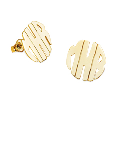 Handmade Block Monogram Stud Earrings 5/8""