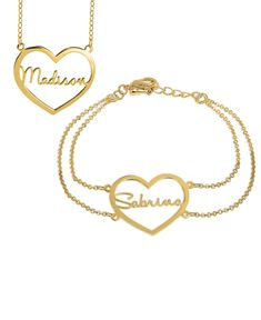 Heart Nameplate Necklace & Bracelet