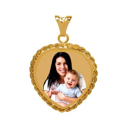 Heart Portrait Pendant with Rope Frame