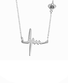 Heartbeat Necklace with Initials