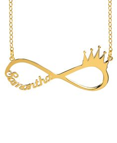 Infinity Crown Name Necklace
