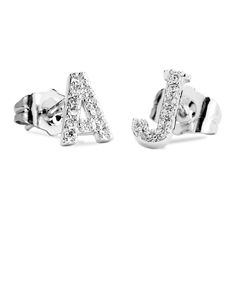 Initial Block Stud Earrings with CZ accent