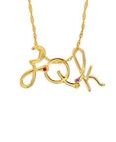 Designer Inspired Initial Pendant with Birthstone Necklace