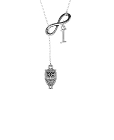 Lariat Owl Infinity Necklace with Optional Initial