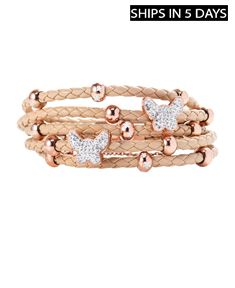 Leather Braided Bracelet with Stainless Steel Butterfly