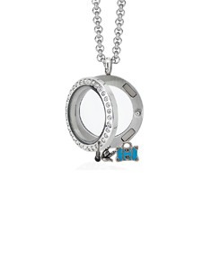 Circle Locket Small with Crystals and 4 Floating Motifs of your choice