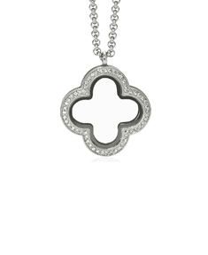 Locket Clover with Zirconia Crystal and 4 Floating Motifs