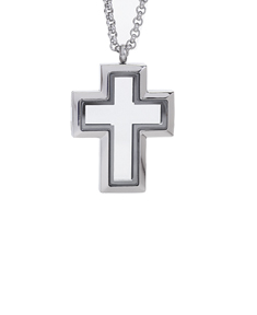 Locket Cross with 4 Floating Motifs