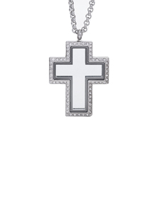 Locket Cross with Zirconia Crystals and 4 Floating Motifs