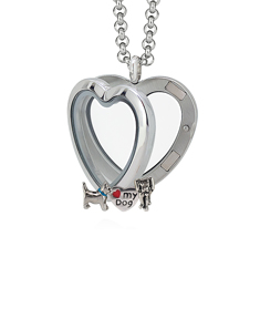 Heart Locket 3cm with 3 Floating Motifs