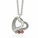 Curved Heart Locket 3cm with 3 Floating Motifs
