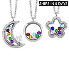 Locket with Floating Birthstones
