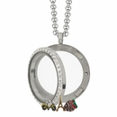 Large Circle Locket with Crystals and 4 Floating Motifs of your choice