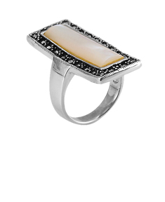 Marcasite Ring with Flat Rectangular Stone