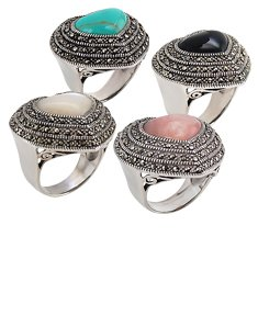 Marcasite Ring With Onyx