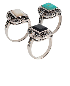 Marcasite Ring with Small Rectangular Onyx
