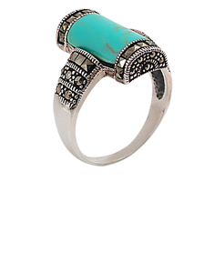 Marcasite Ring with Turquoise Onyx