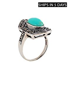 Marcasite Ring with Turquoise Stone