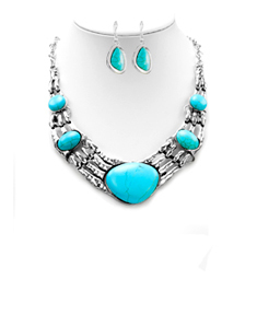 Metal Turquoise Stone Necklace & Earrings