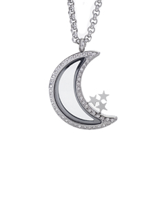 Moon Locket with Zirconia Crystals and 4 Floating Motifs