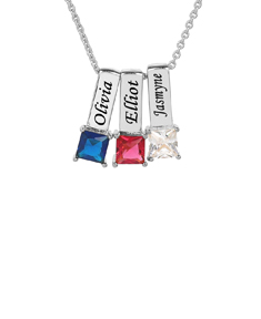 Mother's Necklace w/ Square Shape Birthstone Charm
