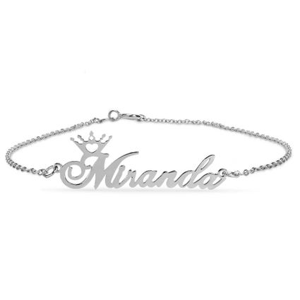 Name Crown Link Bracelet