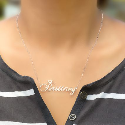 Name Crown Necklace with Matching Bracelet