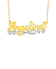 "Name Necklace w/beading ""Angelina"""