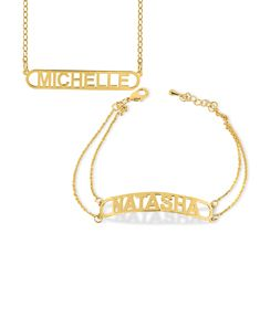Nameplate Bar Necklace & Bracelet