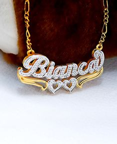 "Double Nameplate ""Bianca"" Style Necklace"