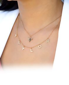 Name Necklace with a Bee Charm