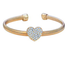 Open Bangle with Crystal Heart