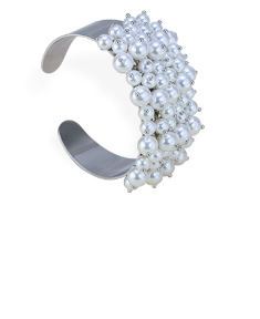 Open Bangle With Pearls
