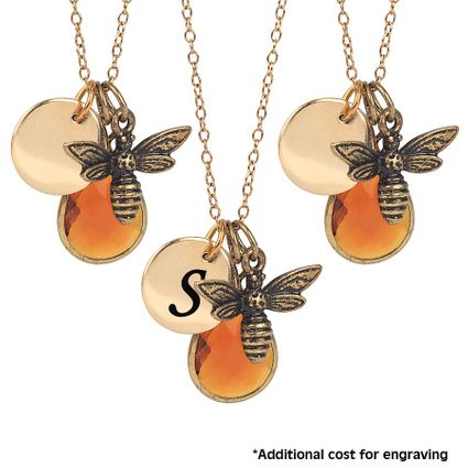3 Bee Necklaces with Optional Initial Disc