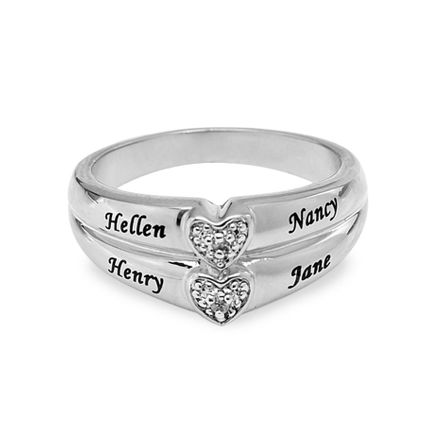 Personalized Diamond Accent Ring w/ Two Hearts