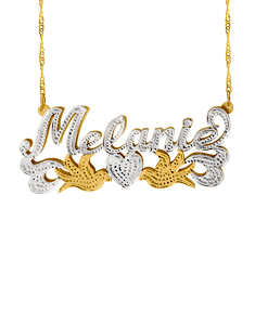 Personalized Double Name Necklace with Doves