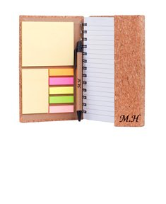 "Personalized ""Eco Friendly"" Cork Spiral Notebook w/ Sticky Notes and Flags"