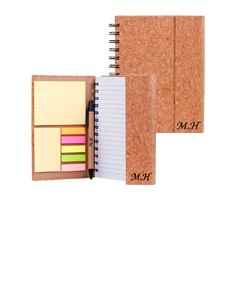 "2 Personalized ""Eco Friendly"" Cork Spiral Notebooks w/ Sticky Notes and Flags"