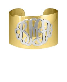 Script Monogram Cuff Bangle with Beaded Lettering
