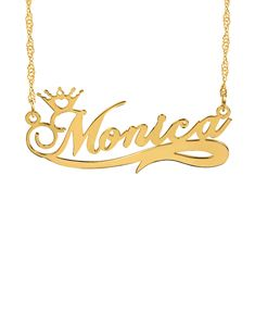 Personalized Name Crown Necklace with Tail Accent